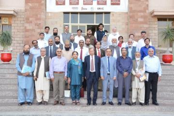 0.Group Photo of President PMDC Justice Rtd Miaan Shakir ullah Jan along with VC KMU Prof Dr Arshad Javaid during 2 days PMDC Inspectors Training Workshop (Custom)1540879495.JPG