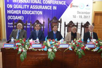01- Sectery HED Syed Zafar Ali shah, Member Ops & Planing Dr Ghulam Raza Bhatti and VC KMU along with other setting on stage during first International conference on qulaity assurance (Custom)1513657699.JPG