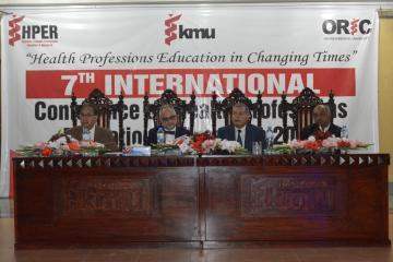 01-Prof. Jack Boulet  & VC KMU Prof. Arsahd Javaid along with others at inagural session sitting on stage during 7th MHPE&R Conferen (Custom)1553143515.JPG