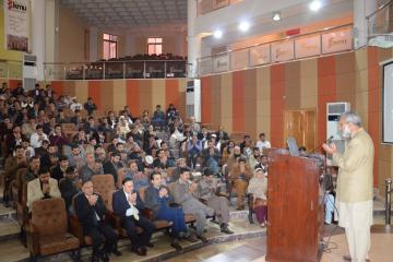 02-Ex-VC KMU Dr Hafiz Ullah offering fateha during condolence reference of Capt. Jazib Shaheed (Custom)1518410464.JPG