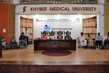 02.VC KMU Prof Dr Arshad javaid, Dr Ilyas Sayed, Dr haider Darian during World Occupational Therapy Day Celebration (Custom)1540880144.JPG