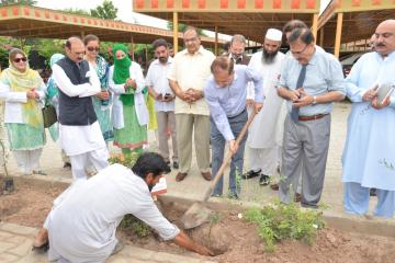 2.VC KMU Dr Arshad Javaid planting a tree during  opening ceremony of tree plantation compaign at KMU (Custom)1534403633.JPG