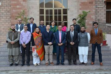 Group photo of VC KMU Prof. Dr Arshad Javaid along with team members of ICRC during MOU signing cermony (Custom)1512036974.JPG