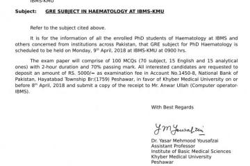 GRE Subject in Haematology at IBMS-KMU